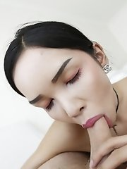 21yo busty Thai shemale gets a full facial from white tourists cock