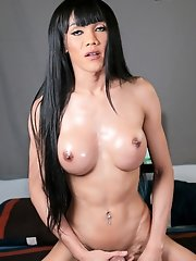Watch ladyboy Yammy as she exposes her sexy body with big boobs, she displays her hot ass too and she jerks off her cock for a hot load of cum!