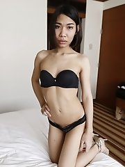 22yo Thai ladyboy with small tits fucks and sucks off white cock