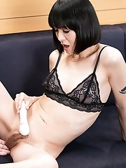 Japanese ladyboy Yoko feet worship and blowjob